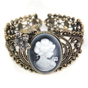 Victorian Antiqued Brass Cameo Cuff Bracelet